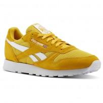 Reebok Classic Leather Shoes Mens Estl-Fierce Gold/White (107HNUZJ)