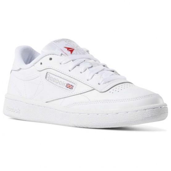 Reebok Club C 85 Shoes Womens White/Light Grey (113JSPYN)