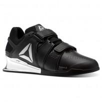 Reebok Legacy Lifter Shoes Mens Black/White/Silver (129FALVD)