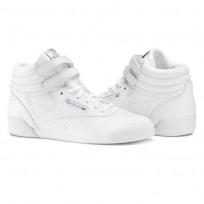 Reebok Freestyle HI Shoes Girls White/Silver (143KZJSN)