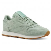 Reebok Classic Leather Shoes Womens Exotics-Industrial Green/Chalk (163ANBPH)