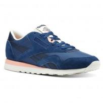 Reebok Classic Nylon Shoes Mens Retro-Bunker Blue/Collegiate Navy/Chalk/Pink (166THZUB)