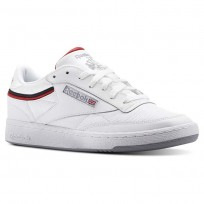Reebok Club C 85 Shoes Mens Sptlt-White/Collegiate Navy/Excellent Red (168MRVJC)