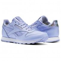Reebok Classic Leather Shoes Girls Lilac Glow/White (179CSRHA)