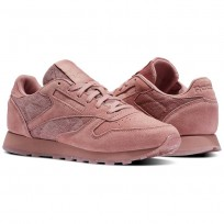 Reebok Classic Leather Shoes Womens Sandy Rose/White (180LDZTV)