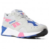 Reebok Aztrek Shoes Mens We-Skull Grey/Acid Pink/Coll Royal/White/Blk (183AOWFQ)