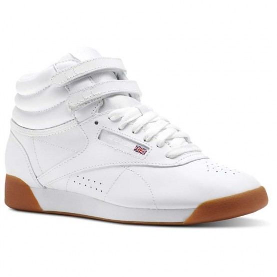Reebok Freestyle HI Shoes Womens White/Gum (186HDZES)