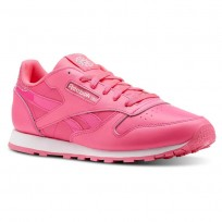 Reebok Classic Leather Shoes Girls Acid Pink/White (186HZPQT)