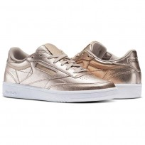 Reebok Club C 85 Shoes Womens Gold/Pearl Met-Peach/White (190VHOIG)