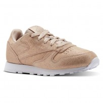 Reebok Classic Leather Shoes Girls Ms-Rose Gold/Bare Beige/White (190ZYUVP)