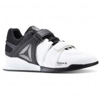 Reebok Legacy Lifter Shoes Mens White/Black/Pewter (209WNIGU)