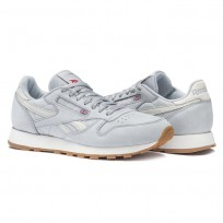 Reebok Classic Leather Shoes Mens Cloud Grey/Chalk/Excellent Red/Gum (227ITUWC)