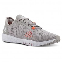 Reebok Flexagon Training Shoes Womens Whisper Grey/Atomic Red/Spirit White (229JKUXZ)