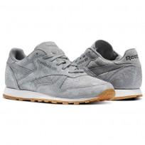 Reebok Classic Leather Shoes Womens Flint Grey/Chalk/Gum (237JZMLS)