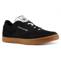 Reebok Club C Gum Shoes Mens Black/White/Gold/Gum (244PISZM)
