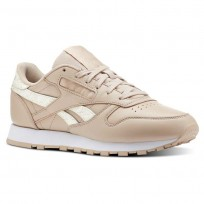Reebok Classic Leather Shoes Womens Sidestripes-Bare Beige/White (251YRHML)