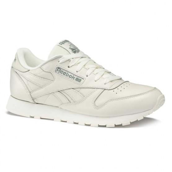 Reebok Classic Leather Shoes Womens Trend X-Chalk/Chalk Green (255ZUKSQ)