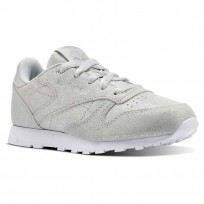 Reebok Classic Leather Shoes Girls Ms-Silver Met/Skull Grey/White (271CQABW)