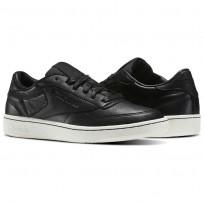 Reebok Club C 85 Shoes Mens Black/Chalk (274LGUNW)