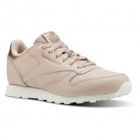Reebok Classic Leather Shoes Girls Rm-Bare Beige/Chalk (275CELBG)