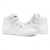 Reebok Freestyle HI Shoes Womens Intense White/Silver (281KXMVA)
