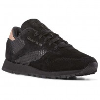Reebok Classic Leather Shoes Womens Emb-Black/Rose Gold (285ZQFYK)