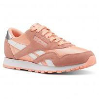 reebok classic nylon παπουτσια για κοριτσια ροζ/ασπρα/ασημι (286hyubq)