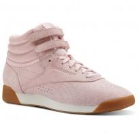 Reebok Freestyle HI Shoes Womens Exotics-Practical Pink/Chalk (293GTQKC)