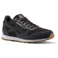 Reebok Classic Leather Shoes Boys Coal/White (317PERMB)