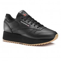 Reebok Classic Leather Shoes Womens Black/Silver Met/Gum (321HIMFL)