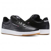 Reebok Club C 85 Shoes Mens Intense Black/White-Gum (326NKSBI)