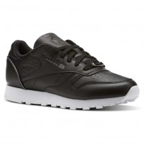 Reebok Classic Leather Shoes Womens Black/Silver Metallic/White (330DALIK)