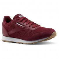 Reebok Classic Leather Shoes Boys Urban Maroon/White (331FIWHP)