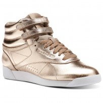 Reebok Freestyle HI Shoes Womens Rose Gold/White/Silver Peony (336KOGFH)