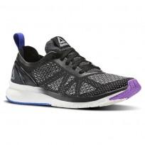 Reebok Print Smooth Running Shoes Womens Black/Chalk/Vicious Violet/Vital Blue (340ZQVNO)