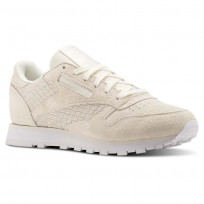 Reebok Classic Leather Shoes Womens Beige/Chalk/White (366RFGXO)
