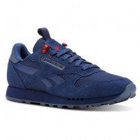 Reebok Classic Leather Shoes For Men Blue/Blue/Red (368UXPHG)