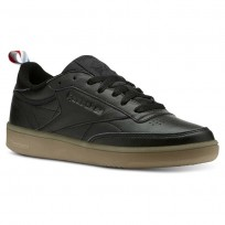 Reebok Club C 85 Shoes Womens Premium Basic-Black/White/Gum (371WZBQA)