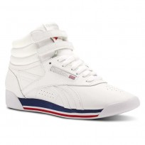 Reebok Freestyle HI Shoes Womens Retro-White/Bunker Blue/Primal Red/Skull Grey (378EGJXK)
