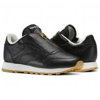 Reebok Classic Leather Shoes Womens Black/Chalk/Sleek Met (379EGJAU)