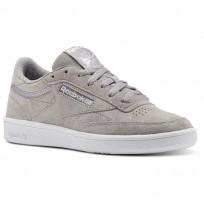 Reebok Club C 85 Shoes Womens Powder Grey/White/Pale Pink (381EGBLS)