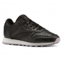 Reebok Classic Leather Shoes Womens Il-Black/Chalk/Lavender Luck/Dark Silver (381ZBYVC)