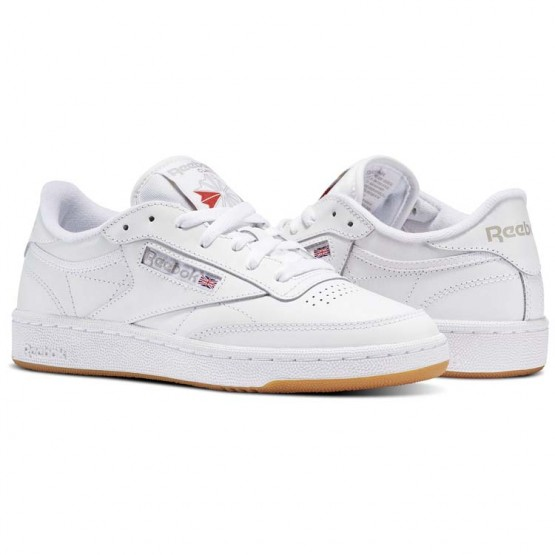 Reebok Club C 85 Shoes Womens White/Light Grey/Gum (382JWDVI)