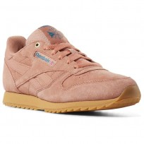 Reebok Classic Leather Shoes Boys Dirty Apricot/Gum (383VBOYR)