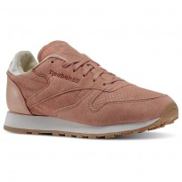 Reebok Classic Leather Shoes Womens Pink/Rustic Clay/Chalk/Desert Stone/Gum (387VWOPL)