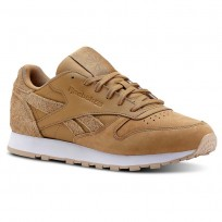 Reebok Classic Leather Shoes For Women Brown/Beige/White (407FOVKE)