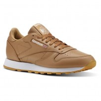 Reebok Classic Leather Shoes Mens Fg-Soft Camel/White/Gum (439ABORY)