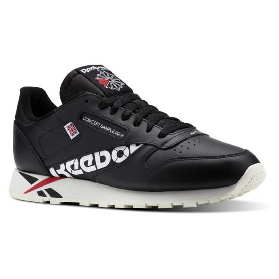 Reebok Classic Leather Shoes Mens Ativ-Black/White/Excellent Red/Chalk (443AIJYX)