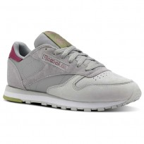 Reebok Classic Leather Shoes Womens Cb-Tin Grey/Skull Grey/Twstd Berry/Wht/Grn (447MBTQG)