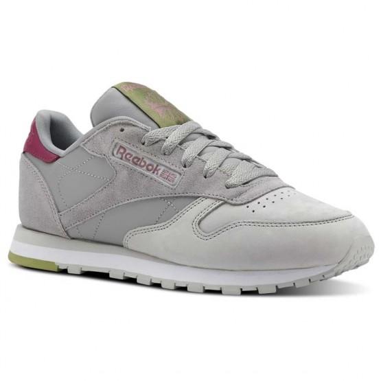 Reebok Classic Leather Shoes Womens Cb-Tin Grey/Skull Grey/Twstd Berry/Wht/Grn (447MBTQG)